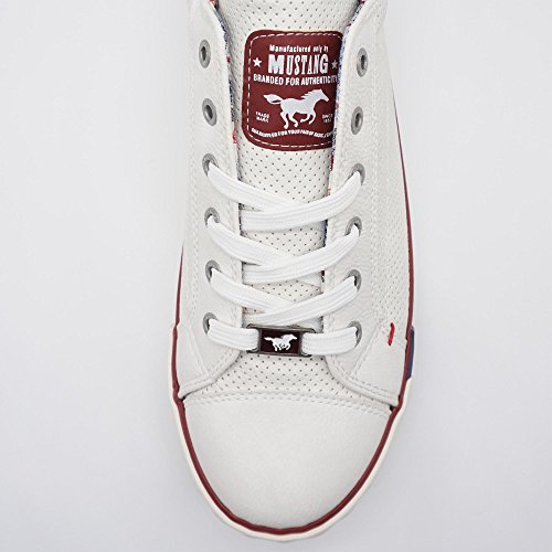 Mustang - 1099304, Sneaker Donna White - Blanc (15 Blanc / Rouge)