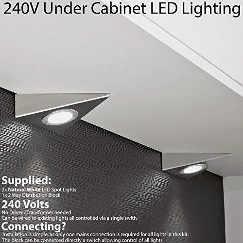 2x * 240V * Triangle LED Unter Schränke/Küche/Spots–gebürstetes Nickel & Natural...