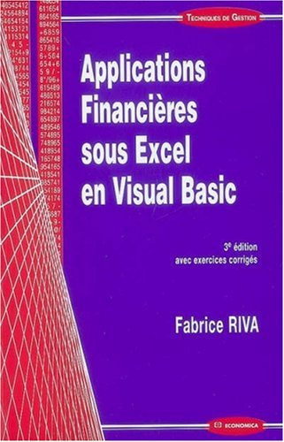 Applications financières sous Excel en Visual Basic
