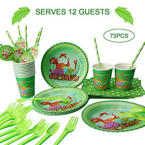 Phogary-Dinosaurier-Geburtstags-Party-Vorräte, Dient 12, Teller, Tassen, Tischdecken, Servietten, Strohhalme, Löffel, Gabeln für die Geburtstagsfeier -