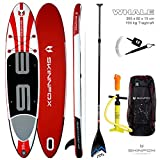 SKINFOX Whale Carbon-Set Sup Board Paddelboard Weiss-Rot (Board,Bag,Pumpe+Carbon-Paddle+Leash)