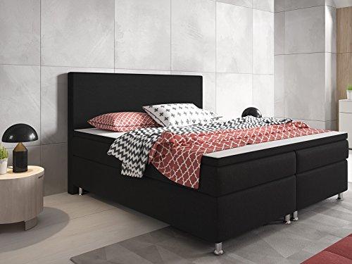 Berlin Boxspringbett, Holzrundgestell mit Webstoff, 5 Gang Bonell-Federkern-Matratze, Härtegrad 3, schwarz, 180x200 cm