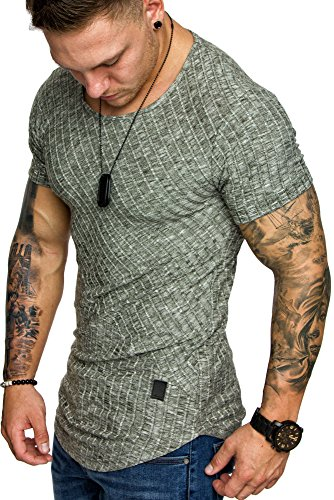 Amaci&Sons Oversize Slim-fit Muscleshirt Vintage Herren Shirt Sweatshirt Crew-Neck 6038 Khaki M