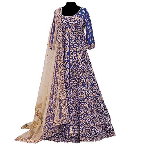 Ethnic Empire Women's Banglory Silk Anarkali Salwar Suit Set (Eeas_Ea11143_Blue_Free Size)