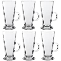 LATTE GLASS TEA COFFEE CUP MUG (Fits Tassimo & Dolce Gusto) Size Large SET of 6
