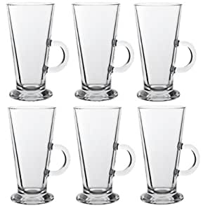 LATTE GLASS TEA COFFEE CUP MUG (Fits Tassimo & Dolce Gusto) Size Large SET of 6 by latte glass