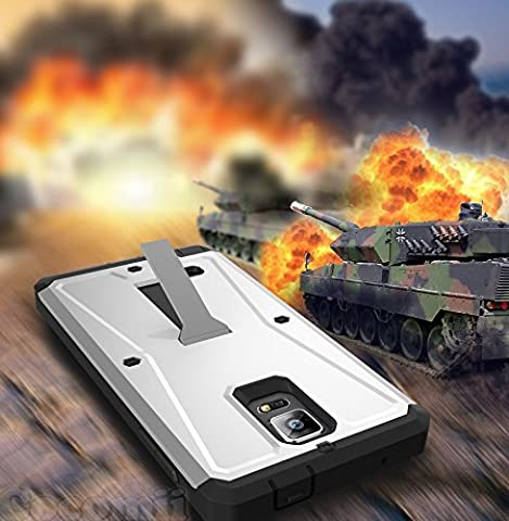 Galaxy Note 4 Coque, Cocomii Tank Armor NEW [Heavy Duty] Premium Built-in Screen Protector Kickstand Dustproof Shockproof Bumper [Military Defender] Full Body Dual Layer Rugged Cover Case Étui Housse (Silver)