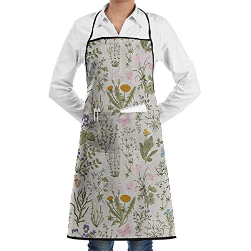 Retro Garden Herb Herb Flowers Grill Aprons Kitchen Chef Bib - Professional for BBQ Baking Cooking for Men Women Pockets bbq apron Herb-server