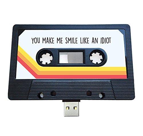 USB auténtico mixtape-retro personalized- Quirky Regalo–amantes de la música, presente, novio, novia, 90s, unidad flash negro 4 GB