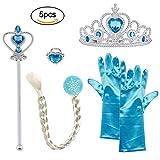 Vicloon Eisprinzessin Set aus Diadem, Handschuhe, Zauberstab, Zopf 2-9 Jahre