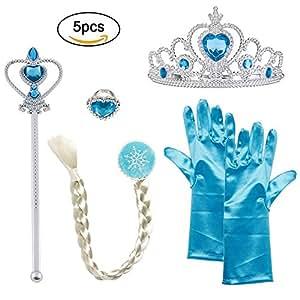 Vicloon Set da Principessa Dei Ghiacci, Diadema, Guanti, Bacchetta Magica e Treccia a Clip 3-9 Anni, Azzurro
