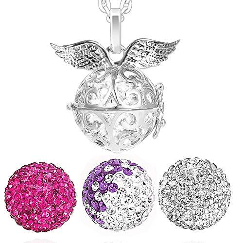 AKKi jewelry Damen Halskette 70 cm mit Ornament Anhänger und 3 Engelskugel Engel-Kette-rufer Klangkugel Ø 14 mm in Schmuckbeutel zur Farbauswahl Pink