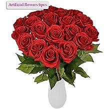 Meiwo 8 Pcs Real Toque Látex Artificial Rosas Redondas Flor Para El Boda Casamiento Decoración Arreglo(Rojo)