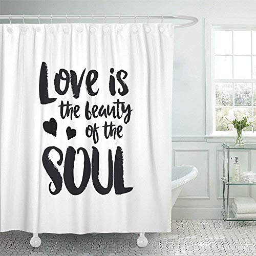 LINGJIE Duschvorhang Waterproof Polyester Fabric 60X72 inch Lettering Paint with Brush Vintage Romantic Phrase on White and Love is The Beauty Set with Hooks Decorative Bathroom - Vintage Paint Brush
