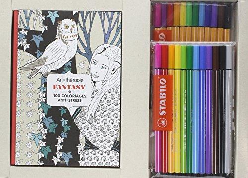 Coffret Art-thérapie Fantasy: 100 coloriages anti-stress par Collectif