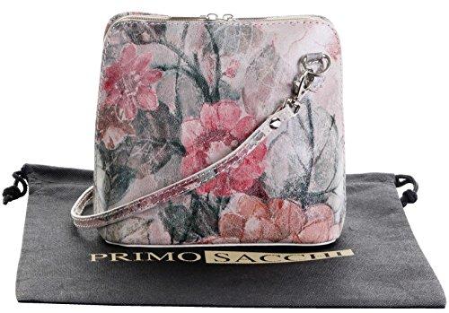 In pelle italiana, Small/Micro croce corpo borsa o borsetta borsa a tracolla.Include una custodia protettiva di marca. Vintage Floral