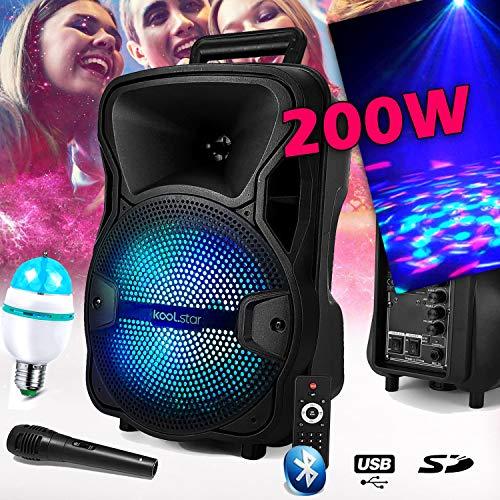 Lautsprecher Karaoke Sono DJ KoolStar autonom Mobile mit Akku 8 Zoll - 200 W - USB/Bluetooth/SD + Micro + Tel + Leuchtmittel DIAMS-3 LED