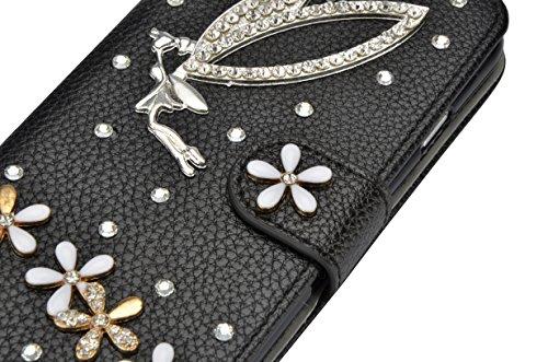 Für iPhone 7 Plus Hülle,Vandot Kratzfest Drop Protection Schutzhülle für iPhone 7 Plus 5.5 inch Ledertasche PU Leder 3D Handgefertigt Handmade Flip Case Cover Luxus Bling Diamant Glitzer Strass Krista Diamant 33