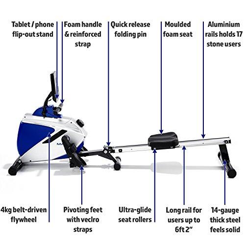 Marcy-Azure-RE1016-Magnetic-Rowing-Machine-BlackWhiteBlue-One-Size