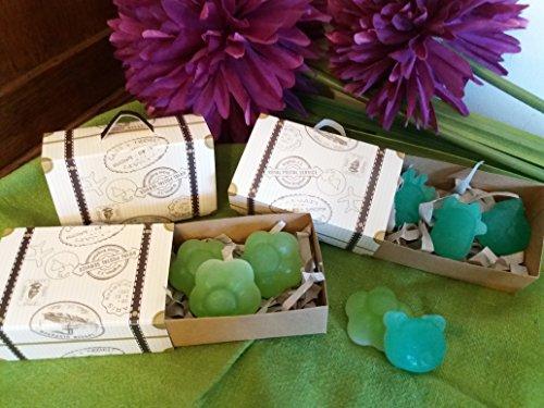 5 Maletitas para regalo con tres pequeños jabones artesanos de Aloe vera, miel, aceite de oliva y lavanda o hierbabuena.