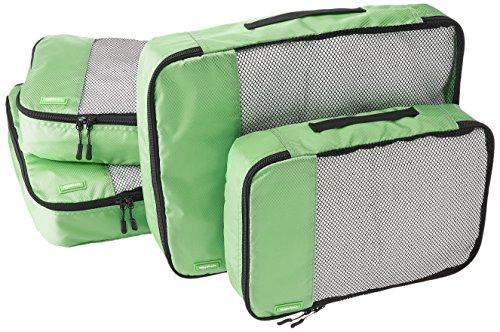 AmazonBasics Lot de 4sacoches de rangement pour bagage 2xTailleM/2xTailleL, Vert