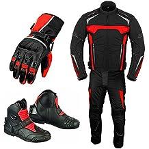 9cf6efeb087 Traje de moto para hombre - Guantes de moto - Botas de moto - Traje de 2  piezas Traje impermeable para motocicleta - Chaqueta de moto con guantes de  ...