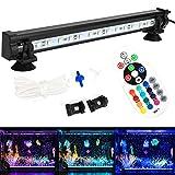DOCEAN Aquarium Air Bubble Beleuchtung Luftblase LED Lichtleiste SMD 5050 15LEDs Wasserfest IP68 Licht Bar mit 24 Tasten RF Fernbedienung Für Aquarium Fisch Tank, RGB, 28CM