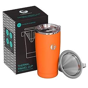 Coffee Gator Pour Over Kaffeebereiter - All-in-One Thermo-Kaffeebecher für unterwegs und Handtropf-Kaffeemaschine - Vakuumisolierter Edelstahl mit papierlosem Filter - 585ml - Orange