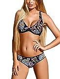 Lorin L3029/8 Dame Bikini Set Soft Cups Neckholder Tiefer Bund, Schwarz,38/75E