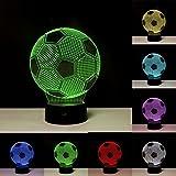 3D-Nachtlicht mit Illusionseffekt, LED-Nachtlampe in Form eines Fußballs, mit 7wechselnden Farben, für Zuhause-/Bürodekorationen, Spielzeuge und Geschenke für Kinder zum Geburtstag, zu Weihnachten Fußball