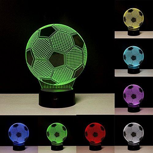 (3D-Nachtlicht mit Illusionseffekt, LED-Nachtlampe in Form eines Fußballs, mit 7wechselnden Farben, für Zuhause-/Bürodekorationen, Spielzeuge und Geschenke für Kinder zum Geburtstag, zu Weihnachten Fußball)