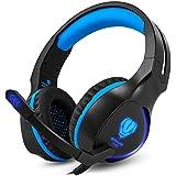 Butfulake PS4 Gaming Headset, 3.5mm Stereo Audio Kopfhörer für PS4 Xbox One Switch PC Laptop Smartphone mit Mikrofon und LED-Licht, Schwarz-Blau