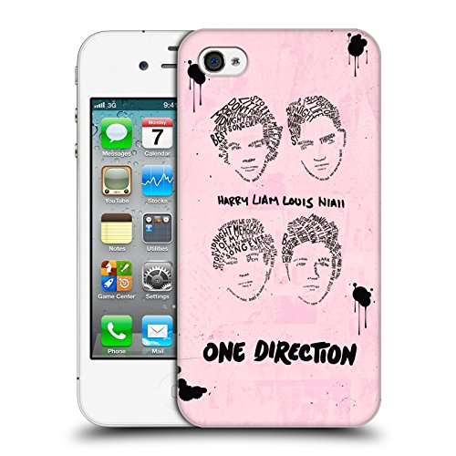 Head Case Designs Offizielle One Direction Gruppe Rosa BG Text Illustration Faces Harte Rueckseiten Huelle kompatibel mit iPhone 4 / iPhone 4S
