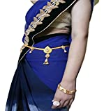WomenSky Women's Traditional Golden Polished Kamarband/Waistband with Pearl
