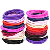 H&S 100 Elastic Hair Bands 4mm Hair Ties Bobbles Elastics Hairbands Ponytail Holders No Metal 10 Colours Colourful Accessories for Women Girls Kids Men Thick Hair Black Brown Pink Purple Blue Red Multicolour