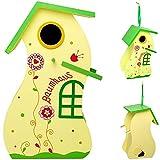 Unbekannt Design Vogelhaus - Baumhaus - aus Holz - 30 cm - Nistkasten, Vogelhäuschen - für Garten & Balkon - Bunte Farben / Haus - zum Aufhängen & Hinstellen - Vögel NI..