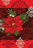 Rot Damast 68,6 x 94 cm Dekorative Colorful Weihnachtsstern Blumen House Flagge