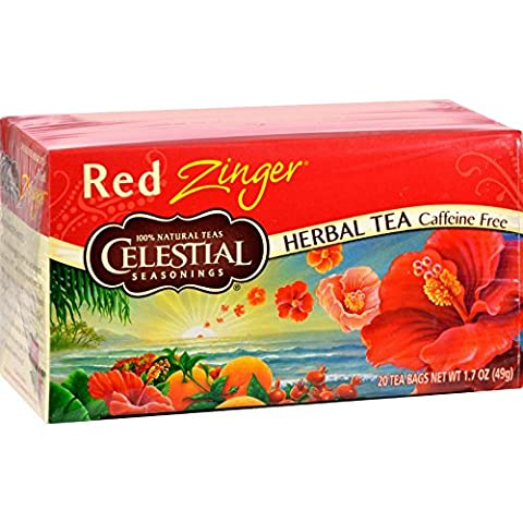 Celestial Seasonings, Red Zinger Herbal Tea, Caffeine Free, 20 Tea
