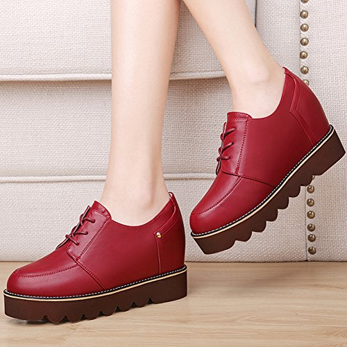 Damen Rund Zehen Low-Top Schuhe Unsichtbar Aufzug Dick Flach Gummi Sohle Einfarbig Freizeit Schuhe Rot