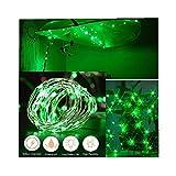 ODJOY-FAN 6 Stück 2m 20LED Dekoration Licht, Farbe Beleuchtung Zeichenfolge Batterie Sternenklar Kupfer Draht Dekor Lichter Weihnachten Dekorativ Licht String Lights (Grün,6 PC)