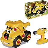CAT Kipplaster, ca. 25 cm, mit Schraubendreher, zum selbst bauen • 25cm CAT Kipplaster Mulden Kipper LKW Kinder Spielzeug Auto Schraubendreher Set