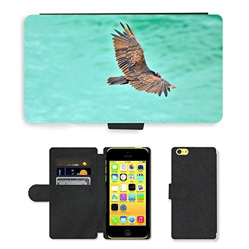 Just Mobile pour Hot Style Téléphone portable étui portefeuille en cuir PU avec fente pour carte//m00138133Turquie Vulture Vulture Bird Wildlife//Apple iPhone 5C