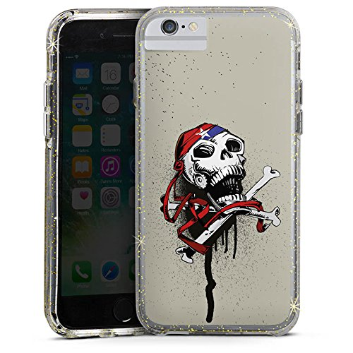 Apple iPhone 6 Bumper Hülle Bumper Case Glitzer Hülle Pirat Death Tod Bumper Case Glitzer gold