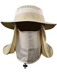 VANKER Senderismo Pesca Sombrero Deportes al aire libre Sol Protección UV Cara para Mujeres Hombres -- Caqui