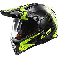 LS2MX436Pioneer Trigger Motorbike Helmet, Black and Hi-Vis Yellow, L.