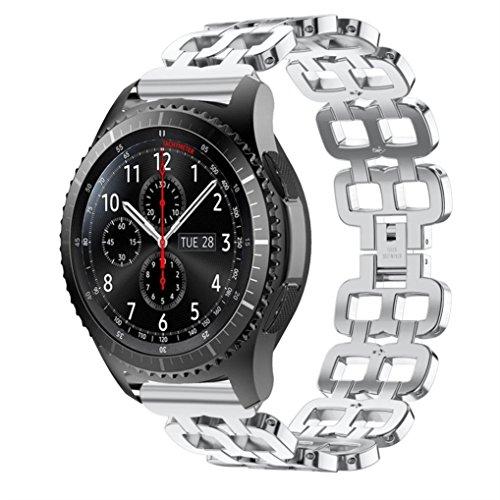 IGEMY Doppel Loch Edelstahl Ketten Art Armband Intelligentes Uhrenarmband Bügel für Samsung Gear S3 (Silber) (Michael Kors Swarovski Uhr)