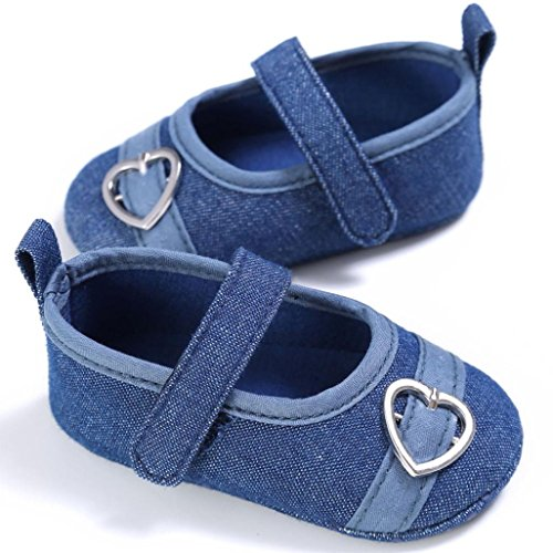 Chaussures de Sport Longra Garçons Filles Coeur Design Chaussures Hasp Bambin Doux Unique Baskets (11, Blanc) Marine