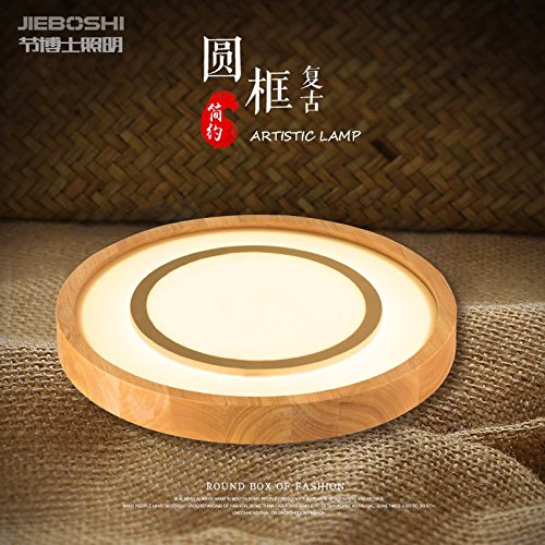 Eiche Dünn (Cttsb Neue chinesische kreisförmige Massivholz einfache Wohnzimmer Deckenleuchte kreative ultra-dünnen Schlafzimmer Eiche LED-Deckenleuchte)