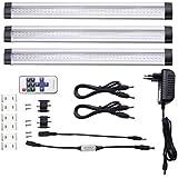 LE 3er Dimmbare LED Lichtleiste, Warmweiß, Insgesamt 12 Watt, Ersatz für 24W Leuchtstoffröhre, LED Unterbauleuchten-Set, 12 V DC, 300mm, 900lm, 3000K, Inklusive Alle Zubehör, 120° Abstrahlwinkel, mit Schalter, flache Küchenlampen, LED Leuchte für Kleiderschrank