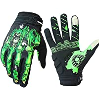 Bicicleta de montaña guantes de montar guantes de motocicleta guantes de motocicleta guantes de pantalla táctil de dedo completo hombres y mujeres moda deportiva guantes de esqueleto (New Verde, M)